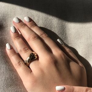 Jewelry - 14k white and yellow gold diamond rolling ring